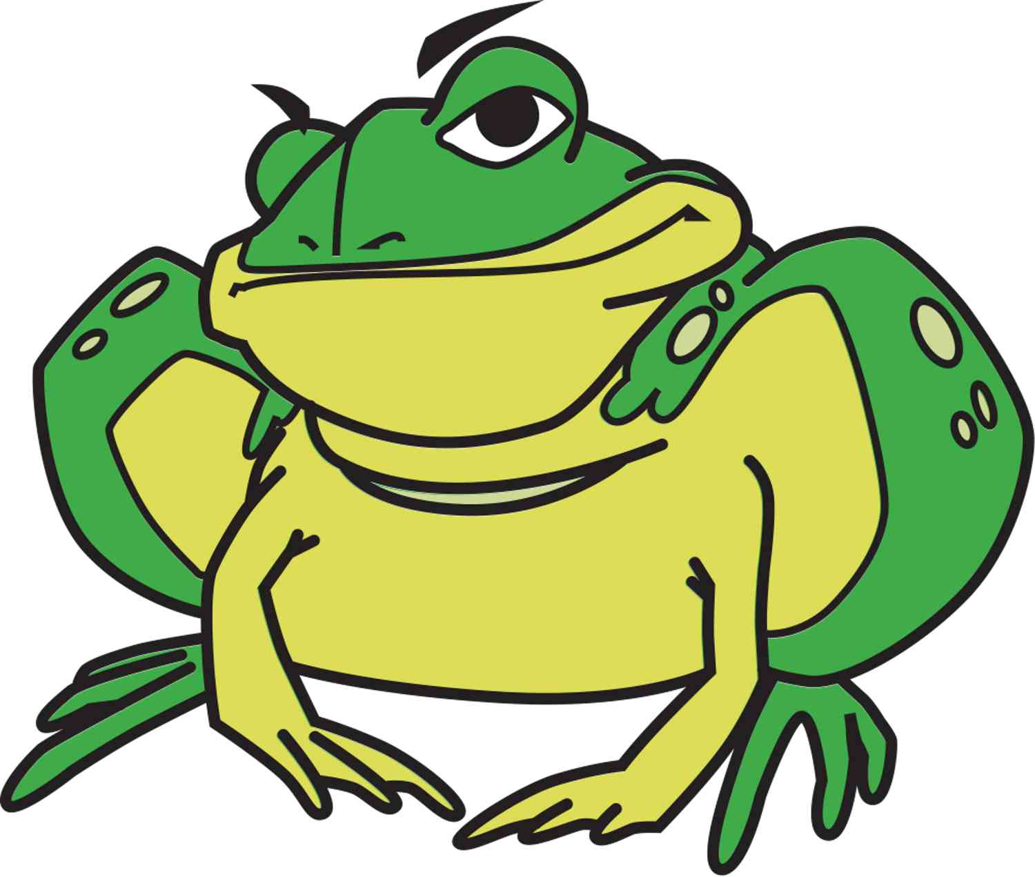 A cartoon character of a handsome toad